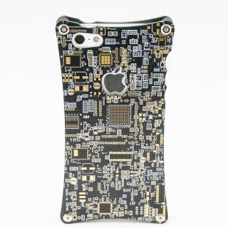 【iPhone SE/5s/5ケース】リアルプリントキバンiPhone5s/5ケース・黒+金フラッシュ×フローティングボス