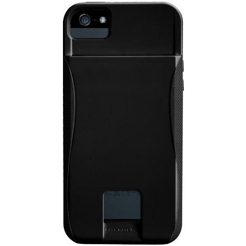 iPhone SE/5s/5 ケース ID カードホルダー付 ハイブリッド シームレス ケース  ブラック/ブラック_0