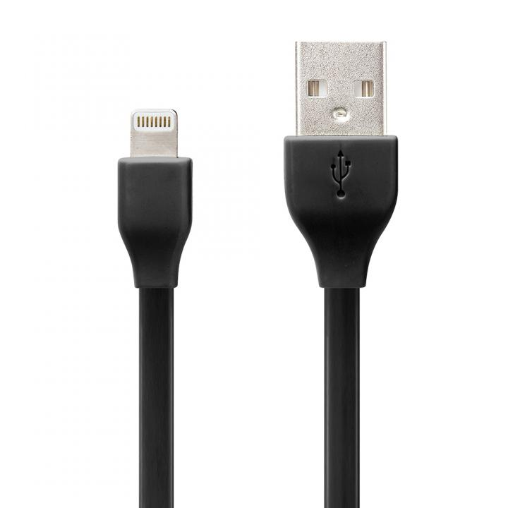 [1m] Lightningコネクタ用 USBフラットケーブル ブラック_0