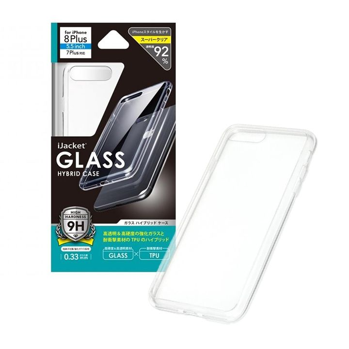 iJacket 強化ガラス/TPU ハイブリットケース iPhone 8 Plus/7 Plus