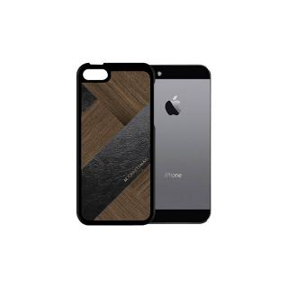 【iPhone SE ケース】COLLART ウッドレザーケース ブラック iPhone SE/5s/5