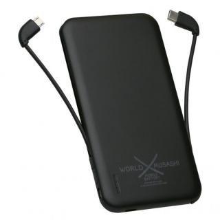 2タイプケーブル収納モバイルバッテリー「世界武蔵」 [5000mAh]USB Type-C&MicroUSB ブラック