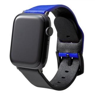 NEON Italian Genuine Leather Watchband for Apple Watch 44/42mm Neon Blue Black【7月上旬】