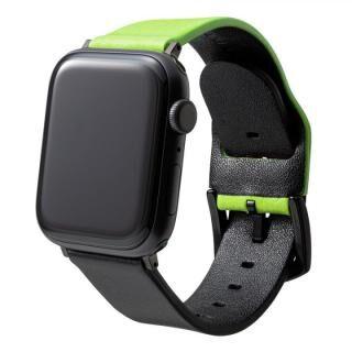 NEON Italian Genuine Leather Watchband for Apple Watch 44/42mm Neon Green Black【7月上旬】