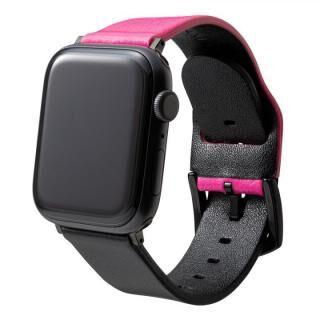NEON Italian Genuine Leather Watchband for Apple Watch 44/42mm Neon Pink Black【7月上旬】