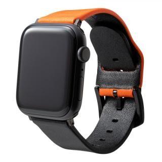 NEON Italian Genuine Leather Watchband for Apple Watch 44/42mm Neon Orange Black
