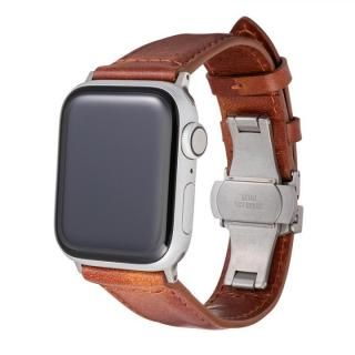 Museum-calf Genuine Leather Watchband for Apple Watch 44/42mm Brown