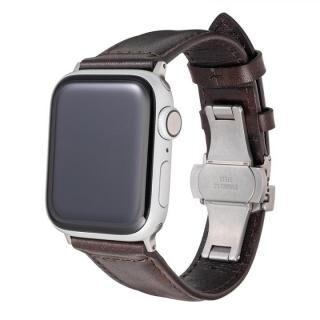 Museum-calf Genuine Leather Watchband for Apple Watch 44/42mm Dark Brown