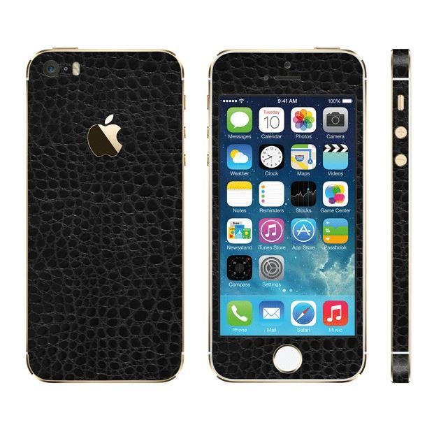 【iPhone SE/5s/5ケース】レザー調 プレミアムスキンシール アリゲーターブラック iPhone SE/5sスキンシール_0