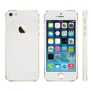 レザー調 プレミアムスキンシール アリゲーターホワイト iPhone SE/5sスキンシール