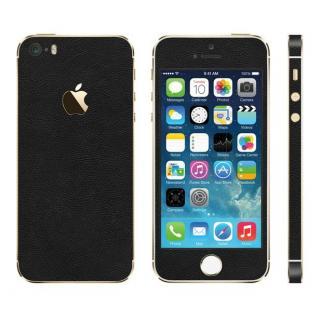 レザー調 プレミアムスキンシール ブラックレザー iPhone SE/5sスキンシール