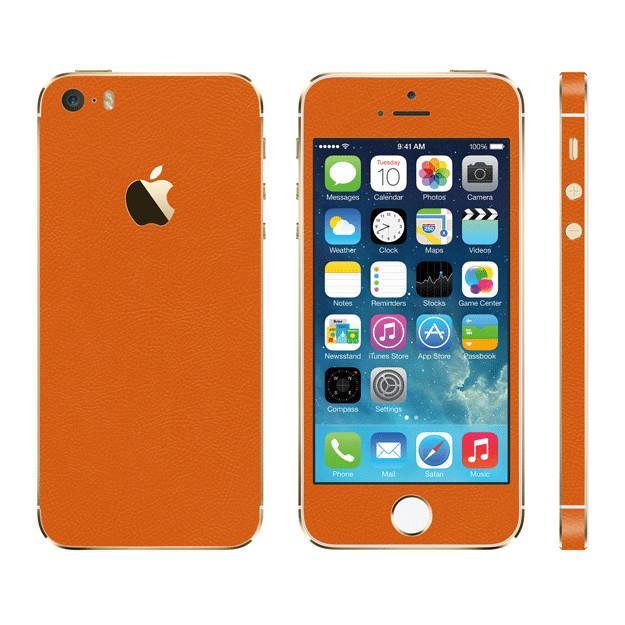 [5月特価]レザー調 プレミアムスキンシール オレンジレザー iPhone SE/5sスキンシール