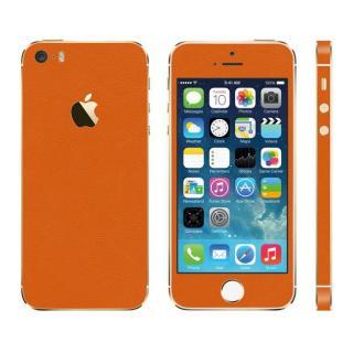 [2017夏フェス特価]レザー調 プレミアムスキンシール オレンジレザー iPhone SE/5sスキンシール