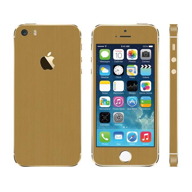 メタル調 プレミアムスキンシール ブラッシュドゴールド iPhone SE/5sスキンシール