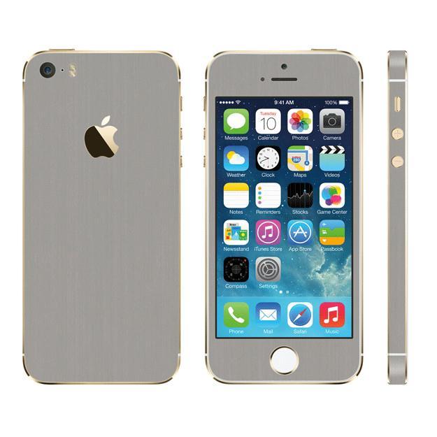iPhone SE/5s/5 ケース メタル調 プレミアムスキンシール ブラッシュドスチール iPhone SE/5sスキンシール_0