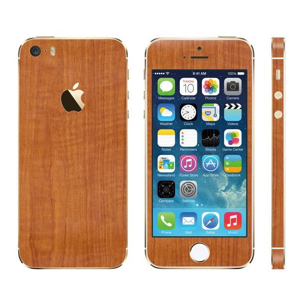 【iPhone SE/5s/5ケース】ウッド調 プレミアムスキンシール チーク iPhone SE/5sスキンシール_0
