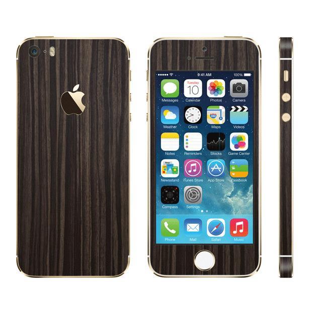 iPhone SE/5s/5 ケース ウッド調 プレミアムスキンシール ダークエボニー iPhone SE/5sスキンシール_0