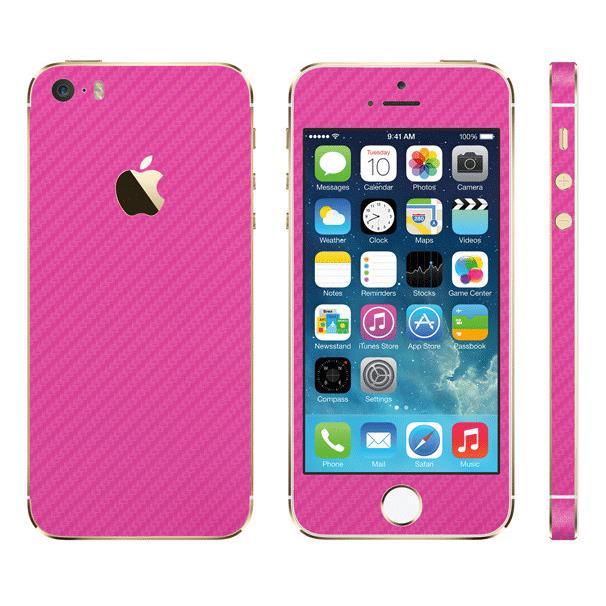[4周年特価]カーボン調 プレミアムスキンシール カーボンピンク iPhone SE/5sスキンシール