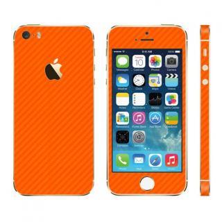 カーボン調 プレミアムスキンシール カーボンオレンジ iPhone SE/5sスキンシール