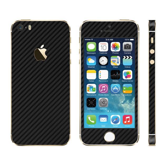 【iPhone SE/5s/5ケース】カーボン調 プレミアムスキンシール カーボンブラック iPhone SE/5sスキンシール_0