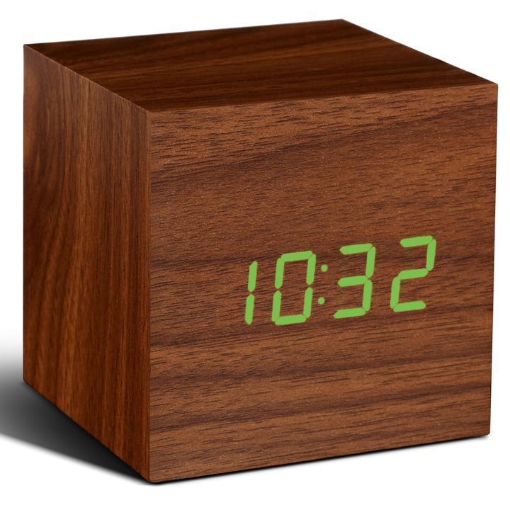 キューブクリッククロック 卓上LED時計 ナチュラルウッド_0