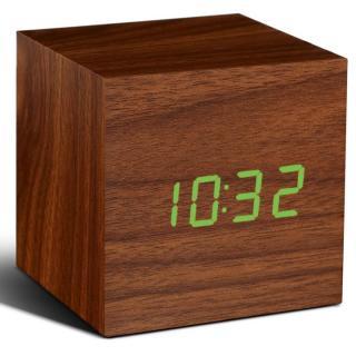 キューブクリッククロック 卓上LED時計 ナチュラルウッド