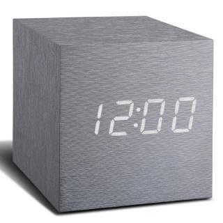 キューブクリッククロック 卓上LED時計 アルミニウムシルバー