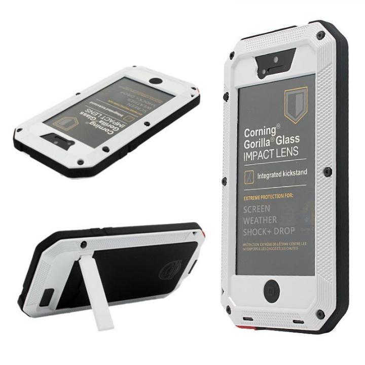 iPhone SE/5s/5 ケース 超強度メタルケース Tyrannosaurs.Rex ホワイト(スタンド有) iPhone SE/5s/5ケース_0