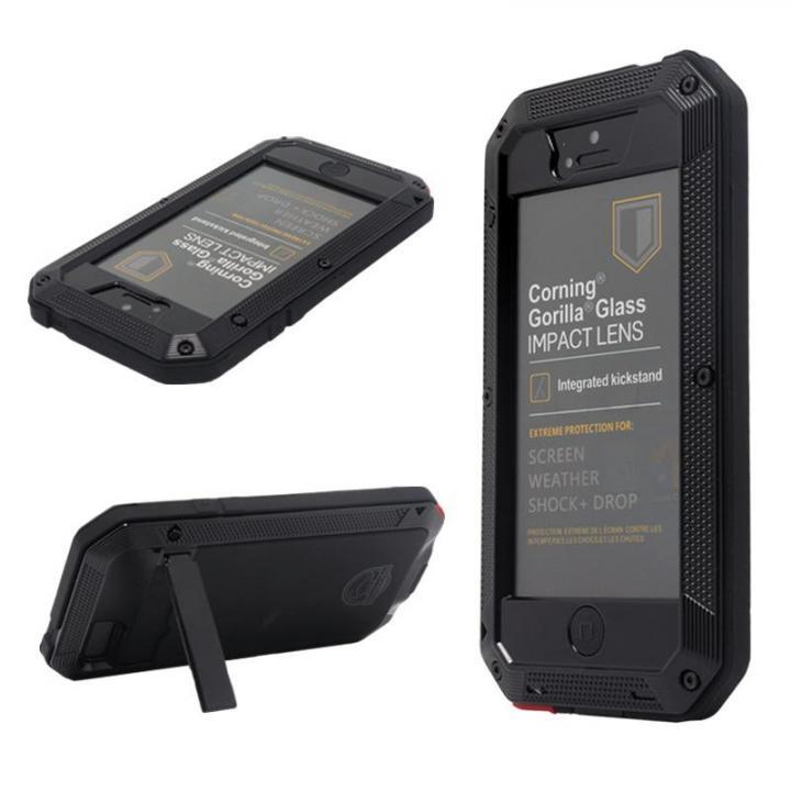 iPhone SE/5s/5 ケース 超強度メタルケース Tyrannosaurs.Rex ブラック(スタンド有) iPhone SE/5s/5ケース_0