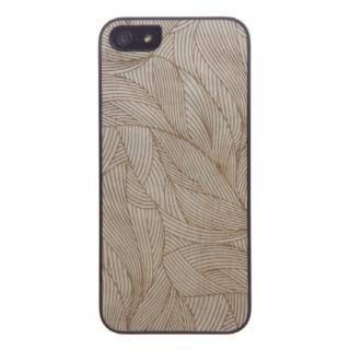 【iPhone SE/5s/5ケース】ウッドケース エングレイビング アイビー ブラックフレーム iPhone SE/5s/5ケース