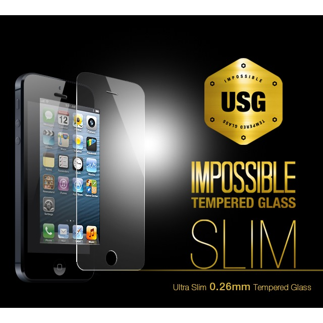 iPhone SE/5s/5 フィルム USG ITG Slim - Impossible Tempered Glass  iPhone 5_0