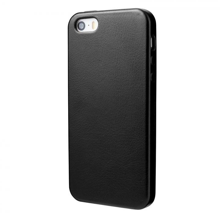 iPhone SE/5s/5 ケース 極薄かつ軽量 1.6mmPUレザーケース ブラック iPhone SE/5s/5ケース_0