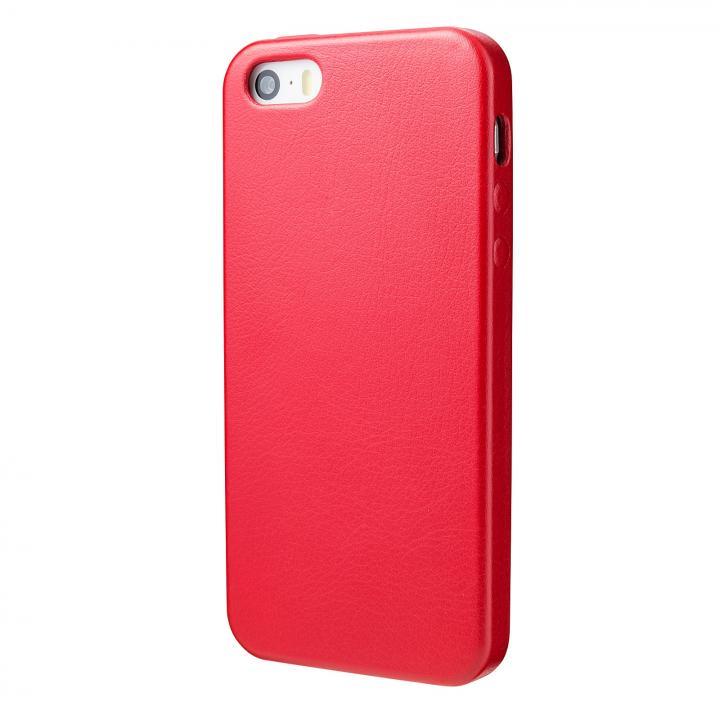 iPhone SE/5s/5 ケース 極薄かつ軽量 1.6mmPUレザーケース レッド iPhone SE/5s/5ケース_0