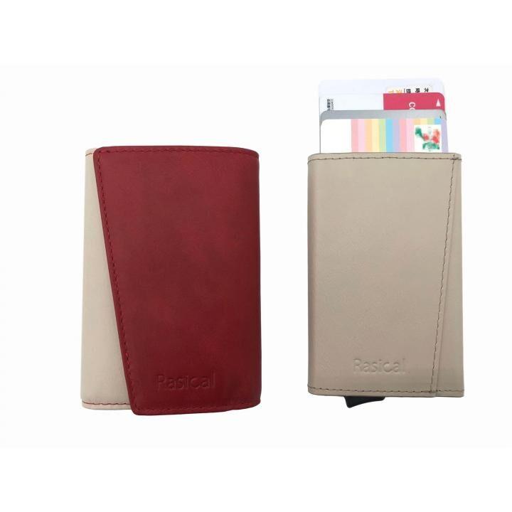 新感覚の減らす財布「ピタマグウォレット」 カバーセット ベージュ×レッド_0