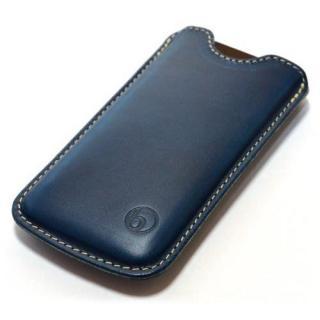 日本の職人が一つずつ制作 ハンドメイドレザーケース ブルー iPhone SE/5s/5ケース