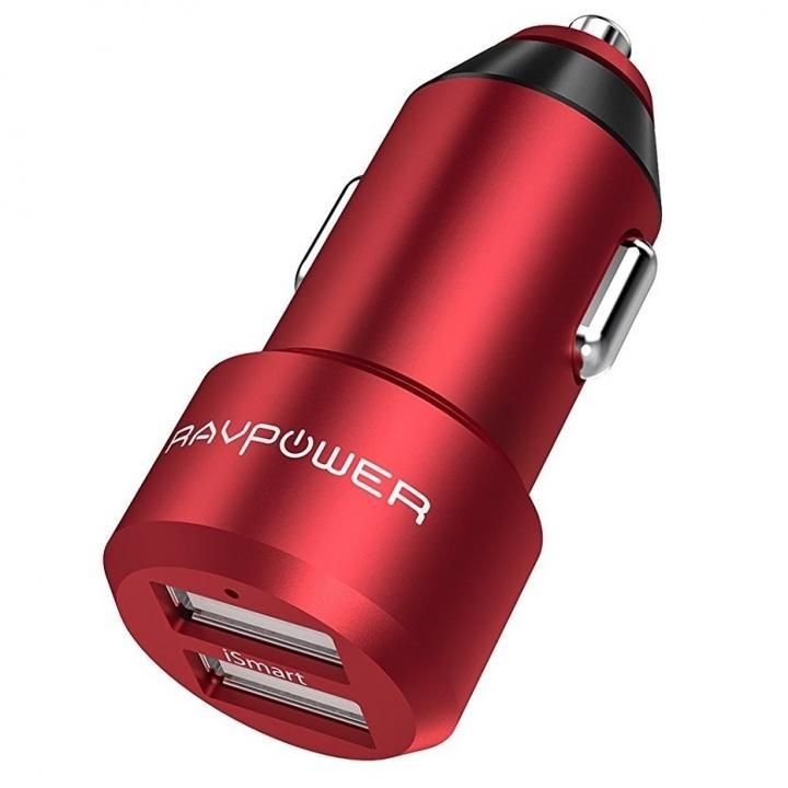 RAVPOWER 2ポートカーチャージャー アルミ製 RP-VC006 レッド_0