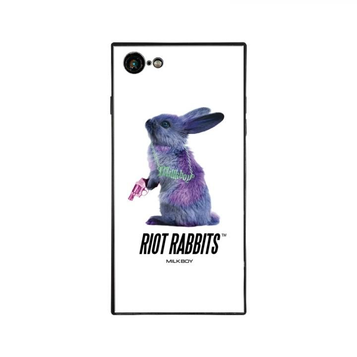 iPhone8/7 ケース MILKBOY RIOT RABBITS スクエア型 ガラスケース WHT iPhone 8/7_0