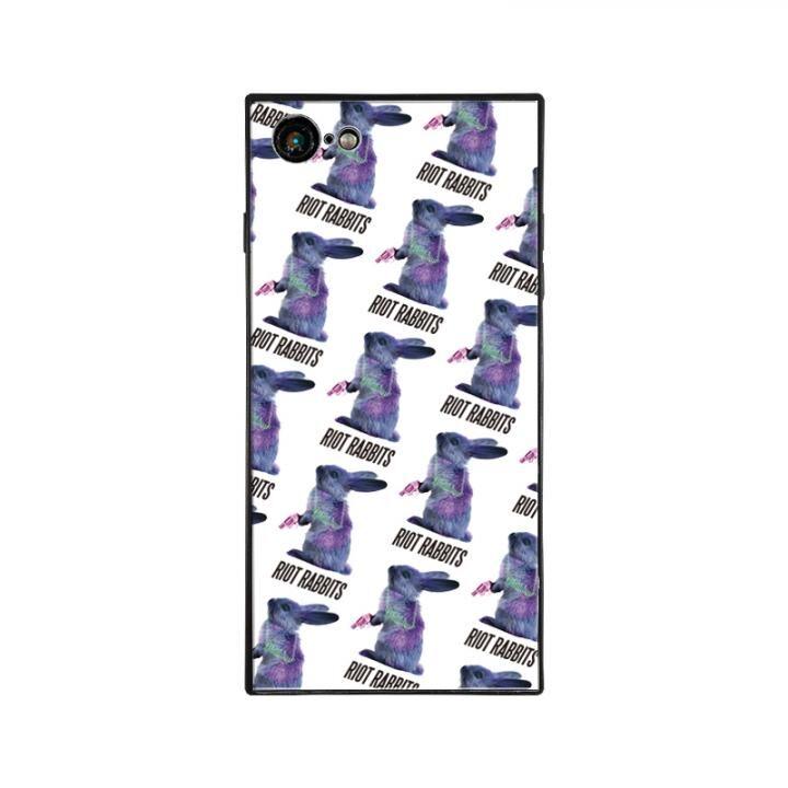 iPhone8/7 ケース MILKBOY RIOT RABBITS スクエア型 ガラスケース PTN WHT iPhone 8/7_0