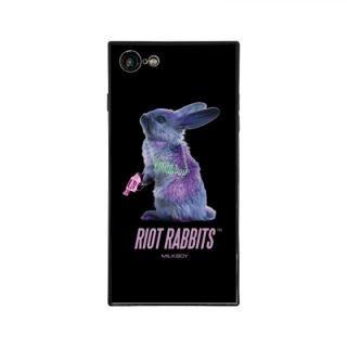 iPhone8/7 ケース MILKBOY RIOT RABBITS スクエア型 ガラスケース BLK iPhone 8/7