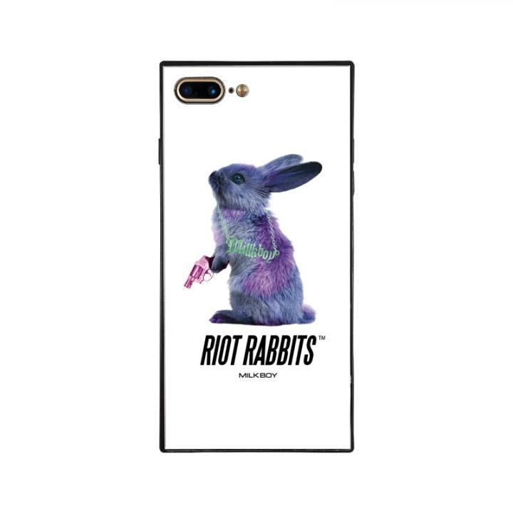 iPhone8 Plus/7 Plus ケース MILKBOY RIOT RABBITS スクエア型 ガラスケース WHT iPhone 8 Plus/7 Plus【9月下旬】_0