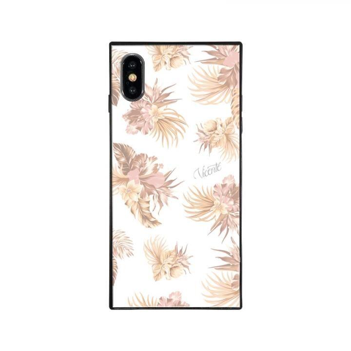 iPhone XS/X ケース Vicente VINTAGE HAWAIIAN スクエア型 ガラスケース BEG iPhone XS/X【11月下旬】_0