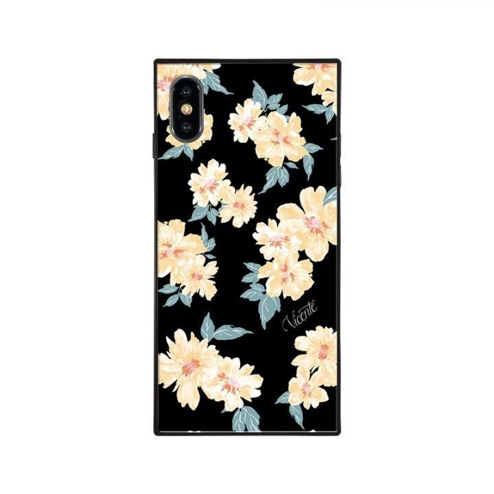 iPhone XS/X ケース Vicente DAISY 背面強化ガラスケース BLACK iPhone XS/X_0