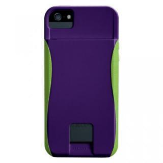 iPhone SE/5s/5 ケース IDカードホルダー付iPhone5 ハイブリッド シームレス ケース パープル/グリーン