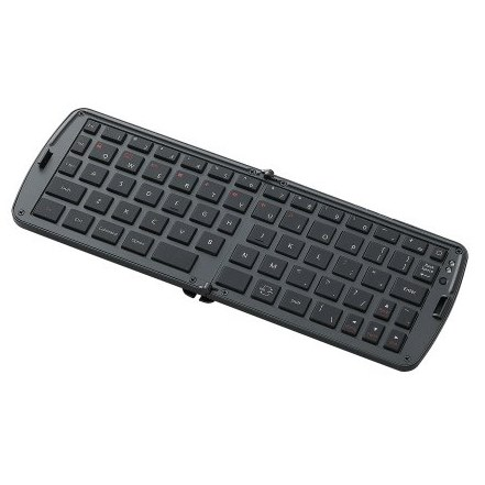 折りたたみBluetoothキーボード/シリコンキー/iPhone,iPad対応/英字配列/ブラック_0