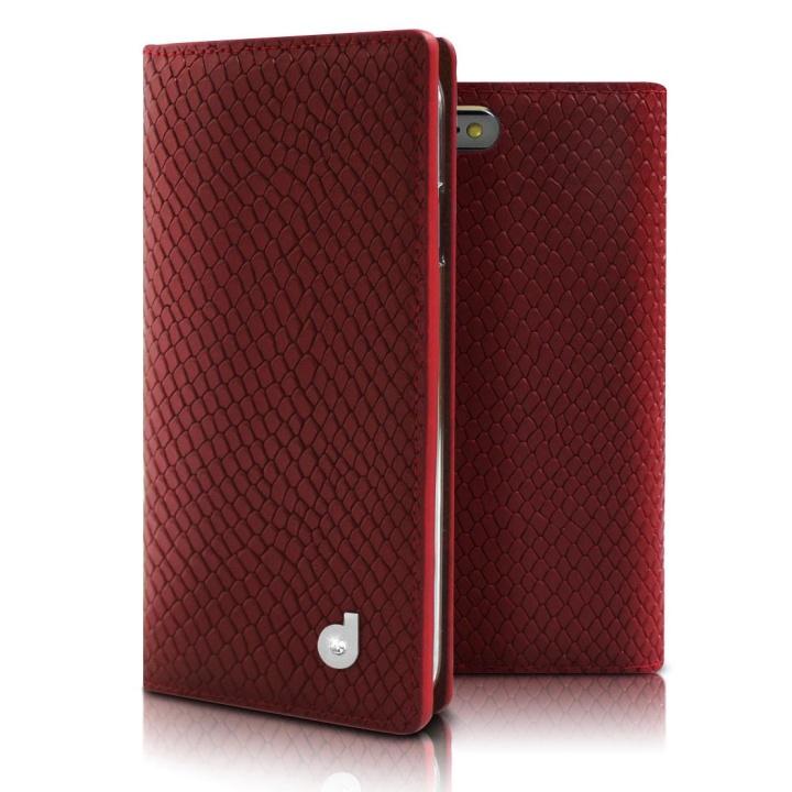 iPhone6 ケース DreamPlus シークレットポケットお財布 牛革手帳型ケース レッド iPhone 6_0