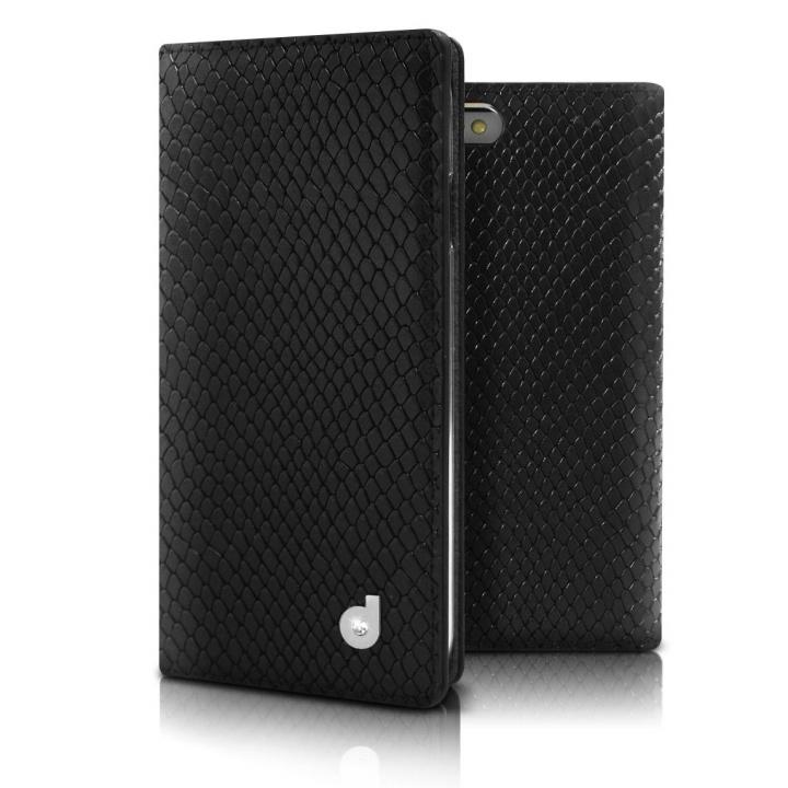 DreamPlus シークレットポケットお財布 牛革手帳型ケース ブラック iPhone 6s Plus/6 Plus