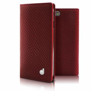 DreamPlus シークレットポケットお財布 牛革手帳型ケース レッド iPhone 6s Plus/6 Plus