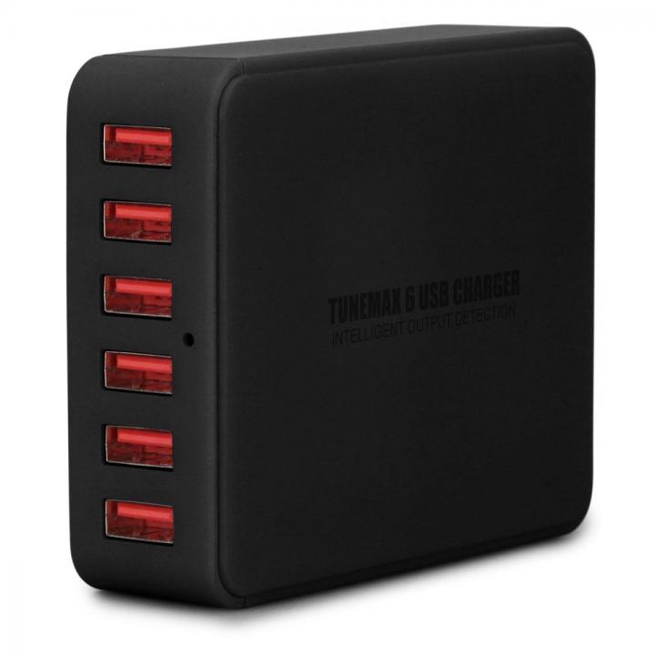 TUNEWEAR TUNEMAX 6ポート 最大2.5A、合計9A USB充電器 ACアダプタ ー ブラック
