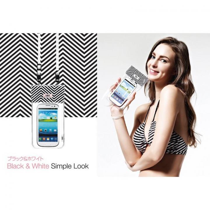 iPhone SE/5s/5 ケース オシャレに防水 bikit スマートフォン用ファッション防水ポーチ ブラック&ホワイト_0