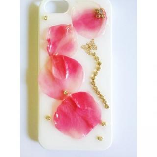 【iPhone SE/5s/5ケース】グラデーションピンクのバラのホワイトハードケース iPhone 5ケース
